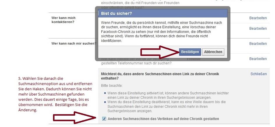 Abb. 4 - Schutz vor Nachrichten von Fremden auf Facebook