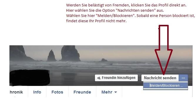Abb. 5 Schutz vor Nachrichten von Fremden auf Facebook