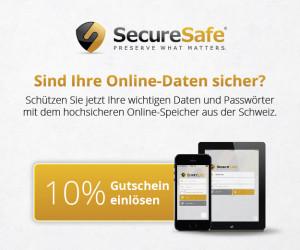 SecureSafe 10 Prozent sparen