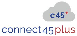 connect45plus.de - Schrift- und Bildmarke - Wolke beschriftet