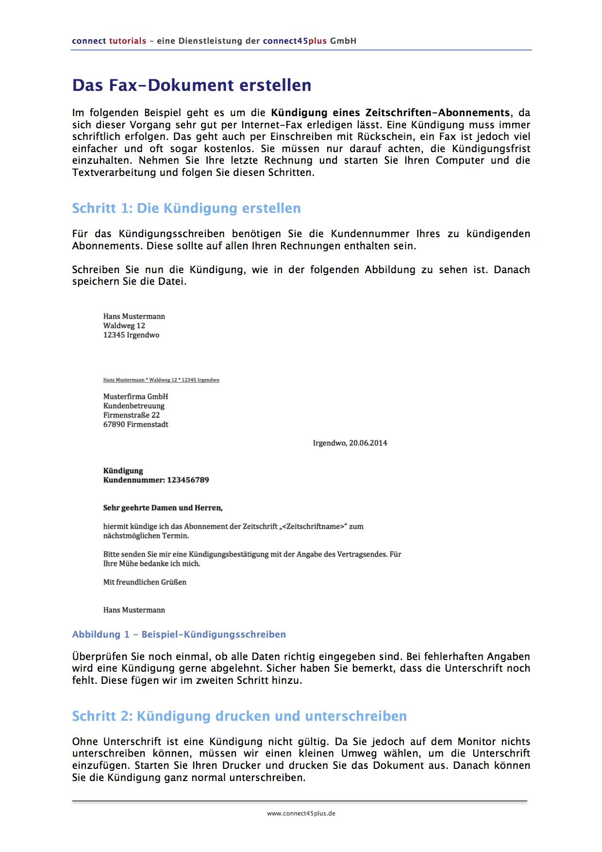 Fax Versenden Anleitung Connect45plus