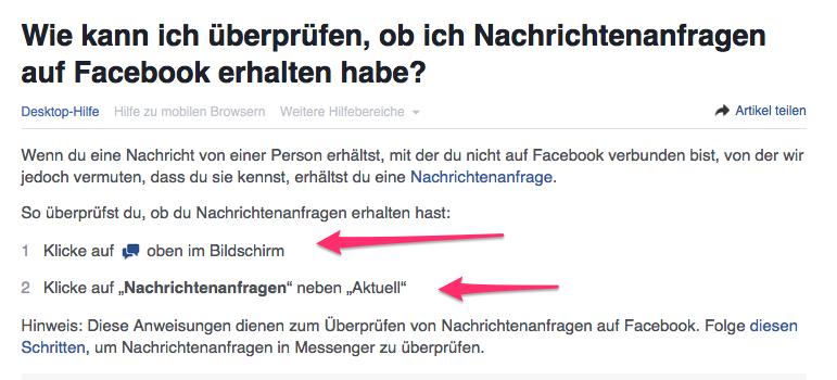 Facebook Nachrichtenanfragen
