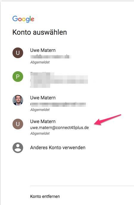 Google Konto anzeigen und auswählen