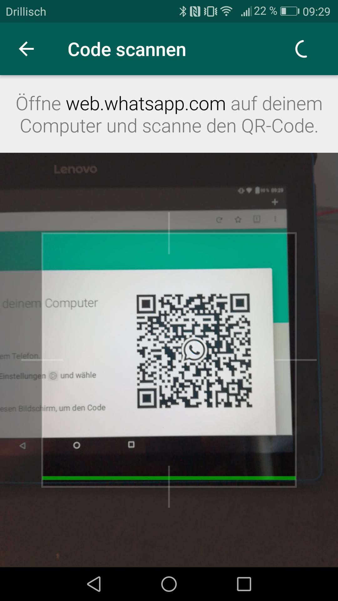 Abb 18 - WhatsApp Web Code scannen