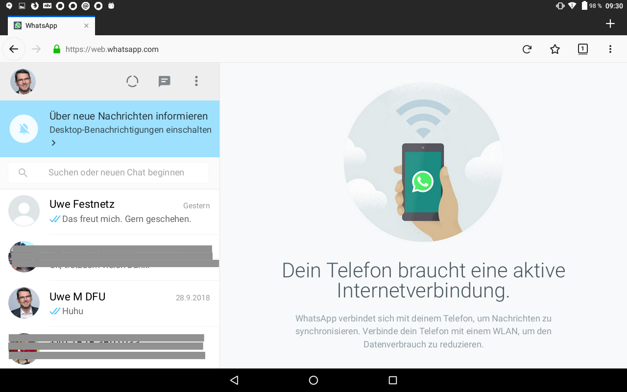 Abb 19 - WhatsApp Web auf Tablet aktiviert