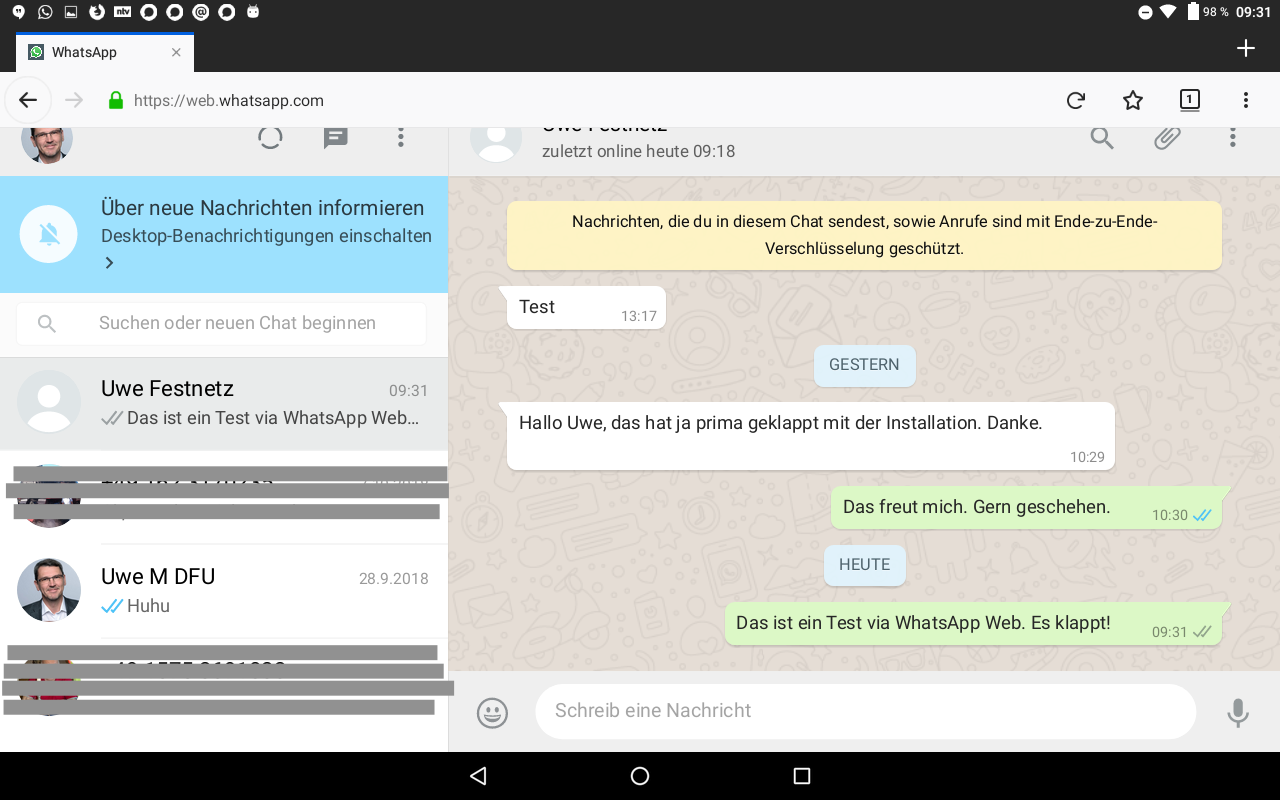 Abb 20 - WhatsApp Web auf Tablet aktiviert 2