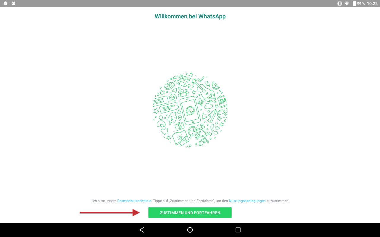 Abb 6 - WhatsApp auf dem Tablet starten