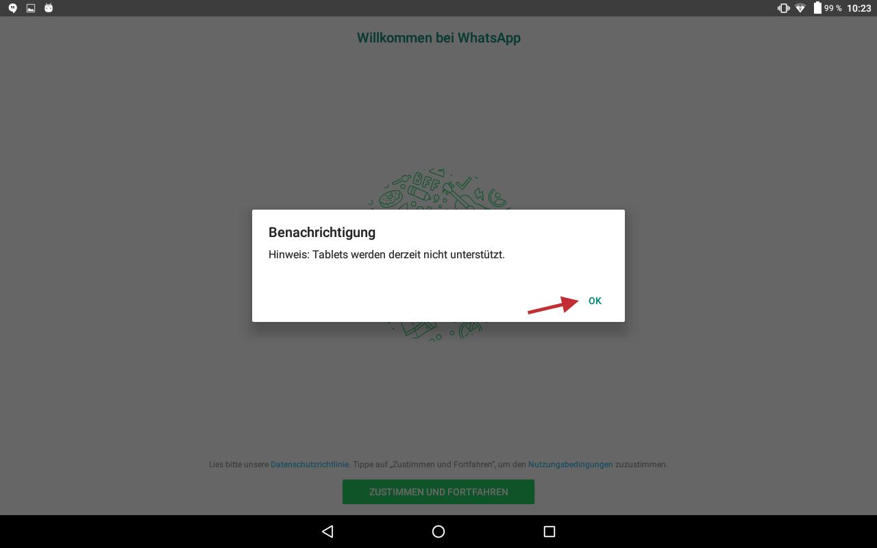 Abb 7 - WhatsApp Hinweis Tablets nicht unterstuetzt