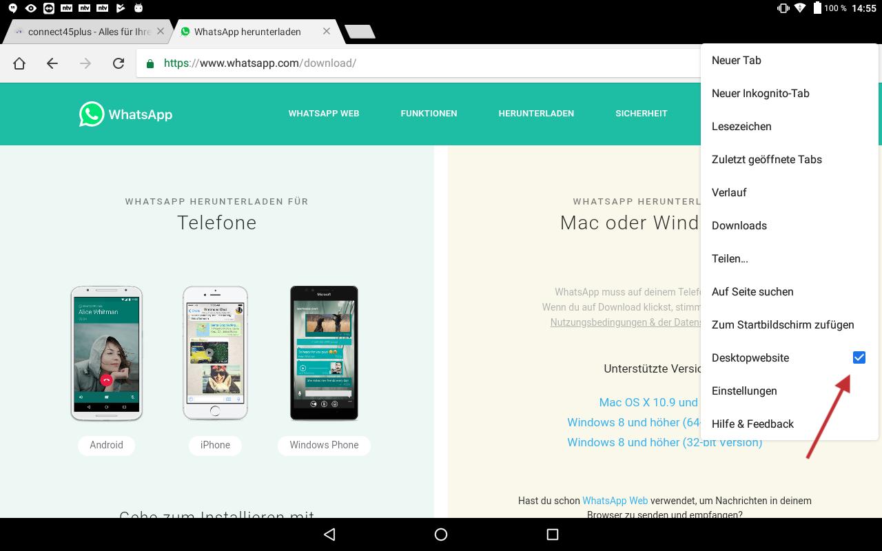 Abb.1 - Chrome Browser auf Desktop umstellen