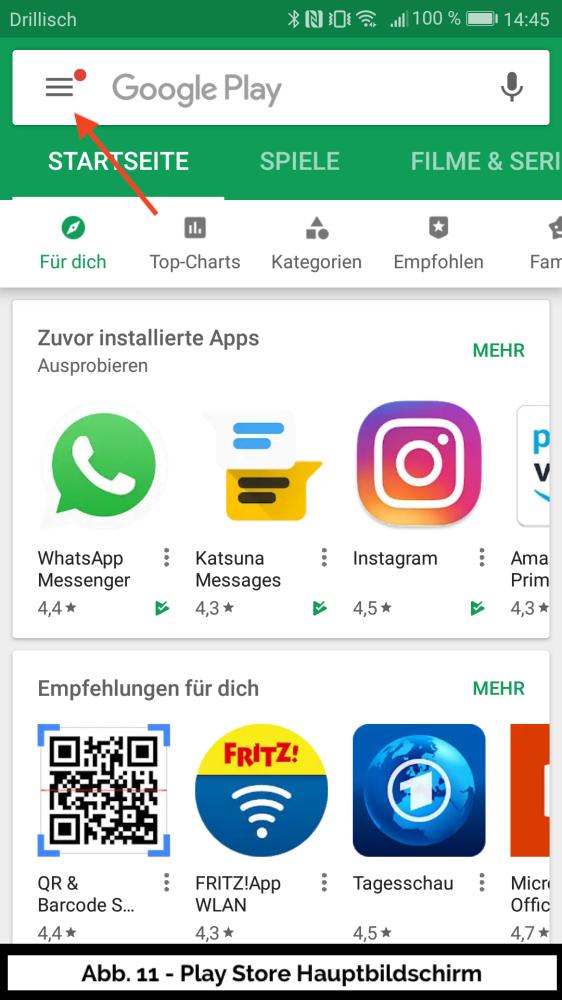 Abb 11 - Play Store Hauptbildschirm und Menu