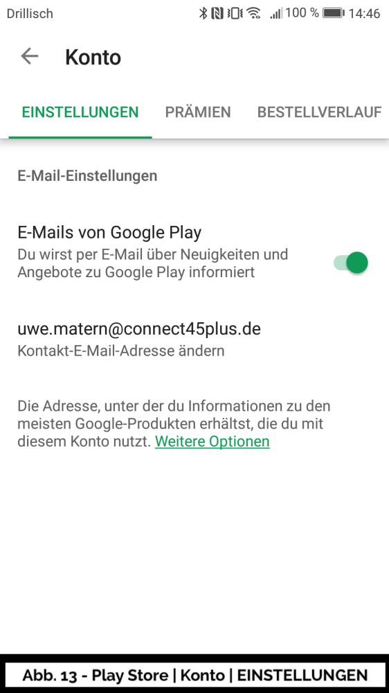 Abb 13 - Play Store Konto Einstellungen