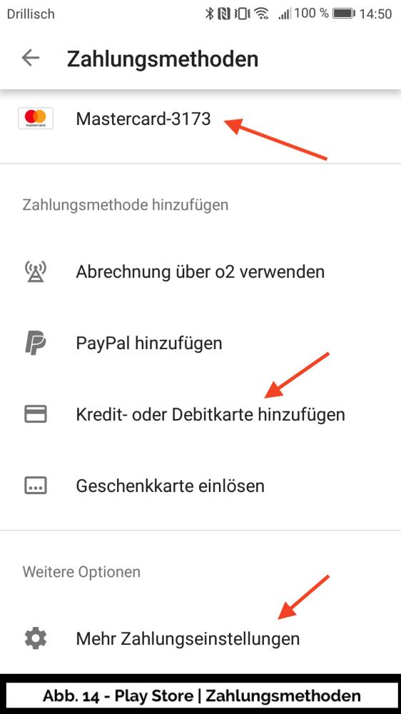 Abb 14 - Play Store Konto Zahlungsmethoden