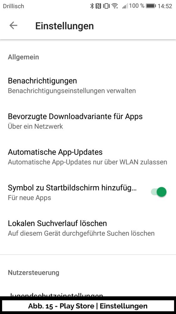 Abb 15 - Play Store Konto Einstellungen II
