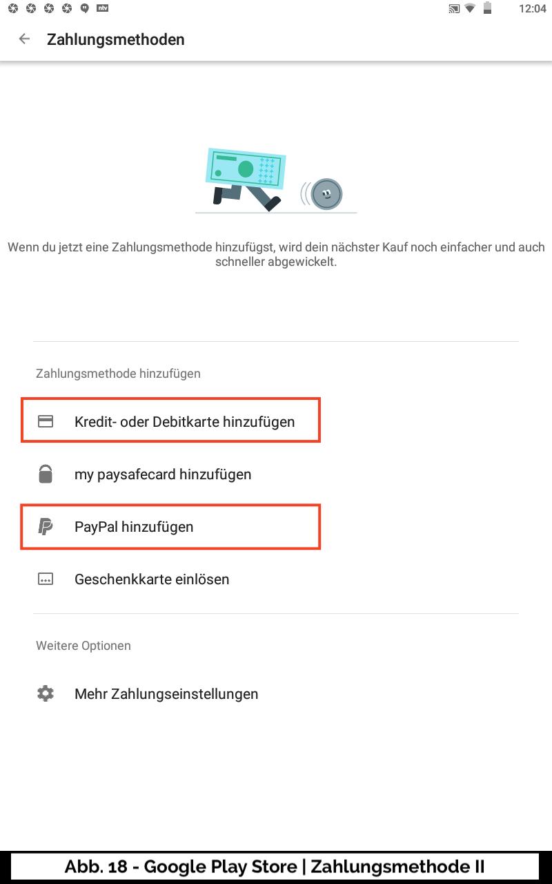 Abb 18 - Google Play Store Zahlungsmethode eintragen