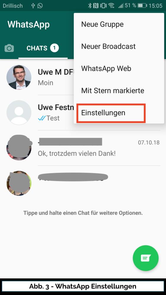 Abb 3 WhatsApp Einstellungen