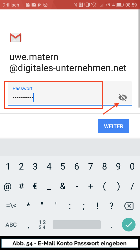 Abb 54 Mail Konto neu Passwort