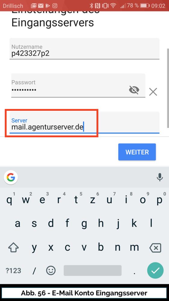 Abb 56 Mail Konto neu Eingangsserver Server