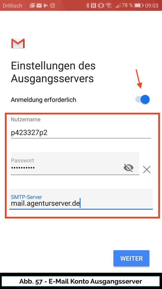 Abb 57 Mail Konto neu Ausgangsserver