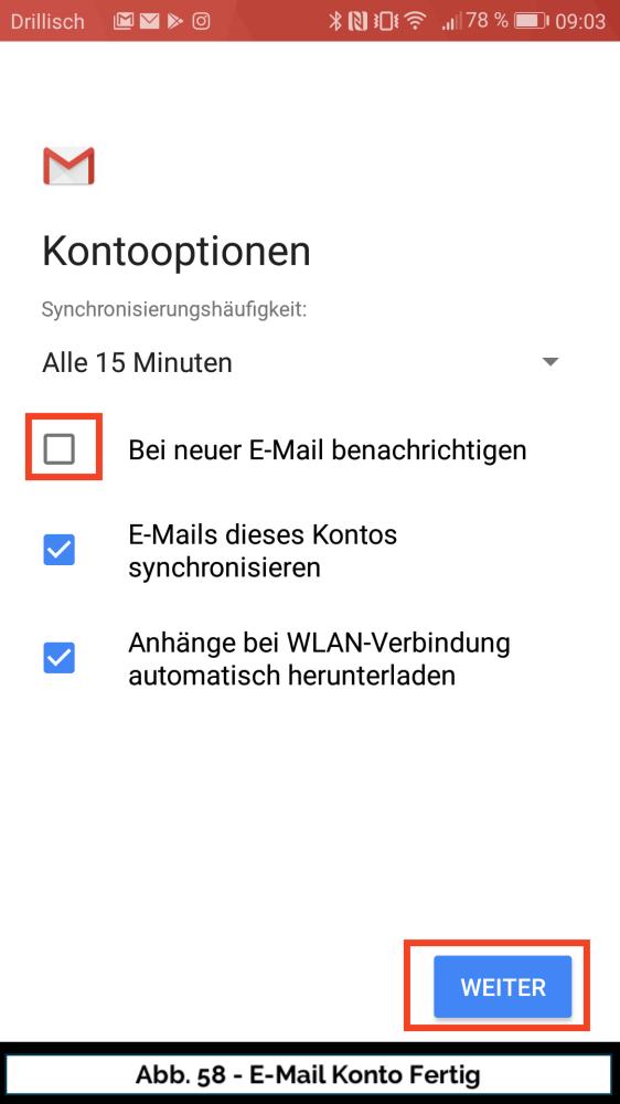 Abb 58 Mail Konto neu Fertig