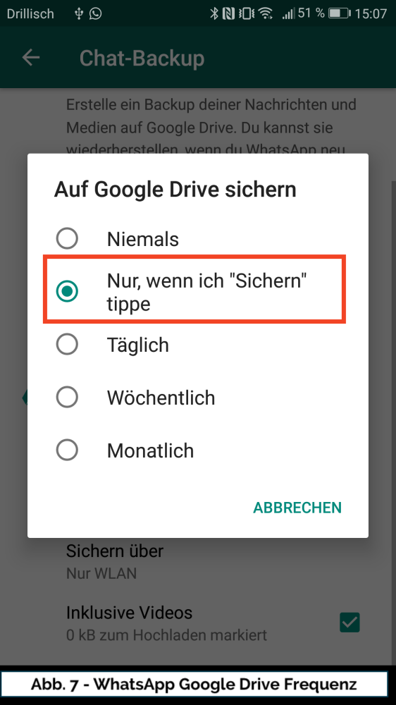 Abb 7 WhatsApp Google Drive Frequenz