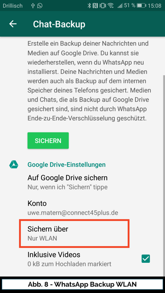 Abb 8 WhatsApp Google Drive WLAN