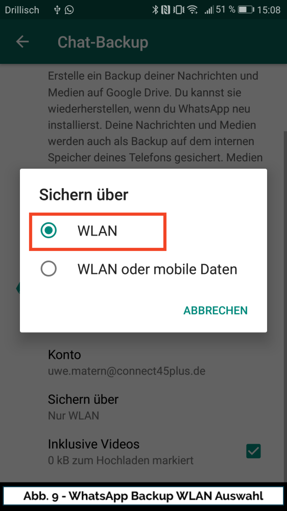 Abb 9 WhatsApp Google Drive WLAN II
