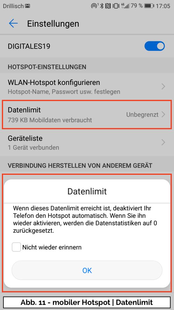 Abb 11 - Hotspot Datenlimit