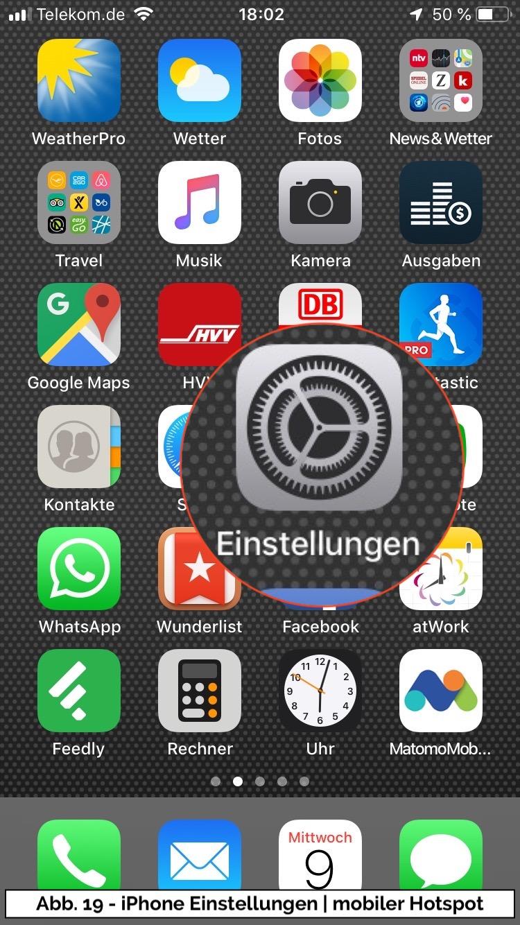 Abb 19 - iPhone Einstellungen