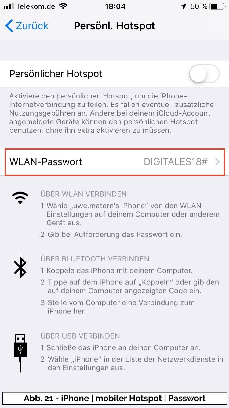 Abb 21 - iPhone persoenlicher Hotspot