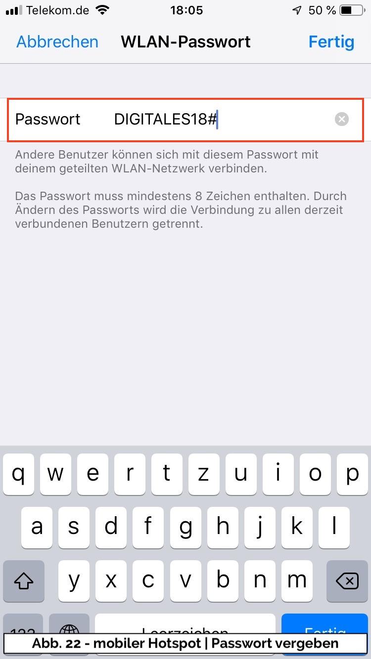 Abb 22 - iPhone Hotspot Passwort