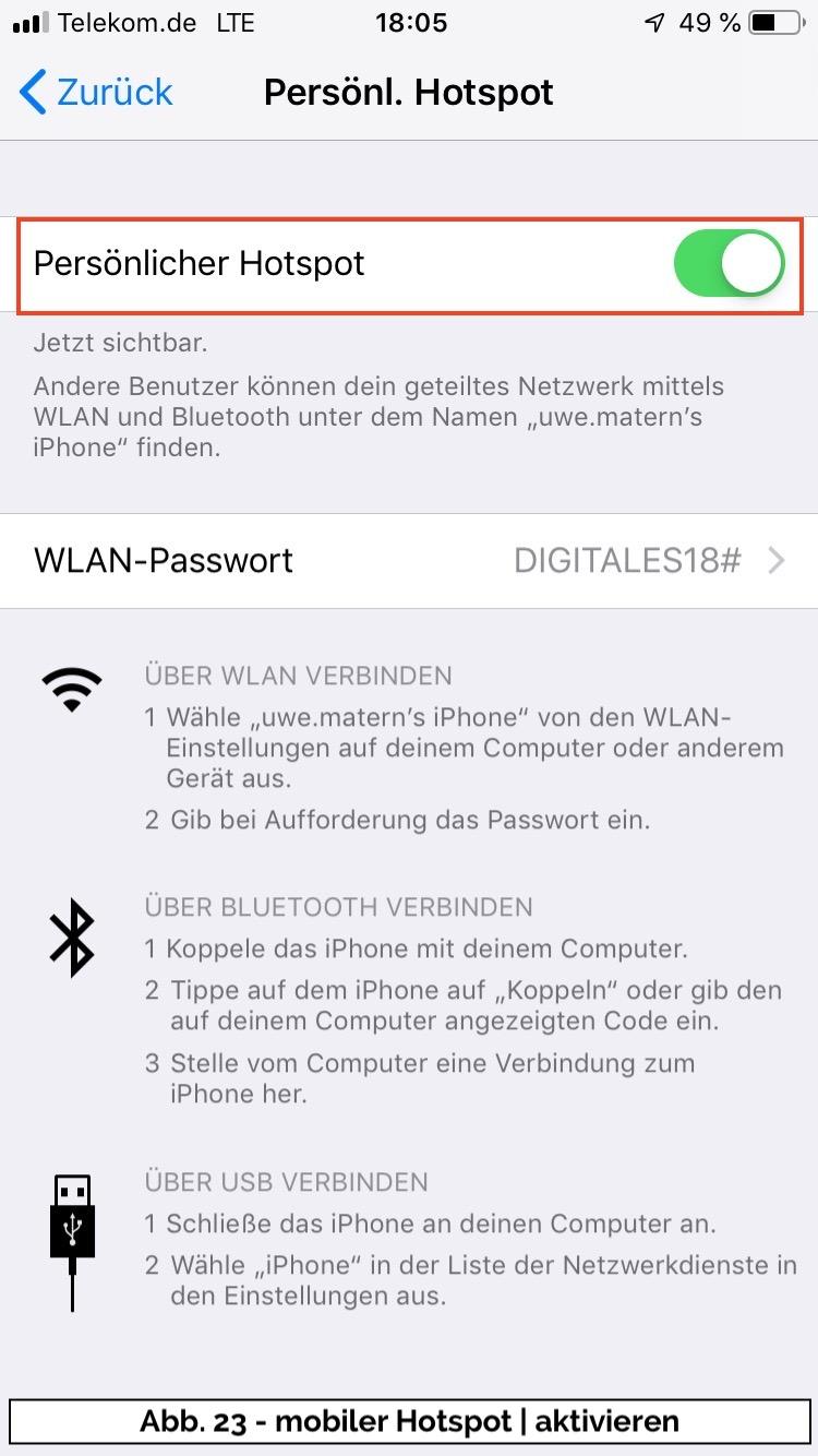 Abb 23 - iPhone Hotspot einschalten