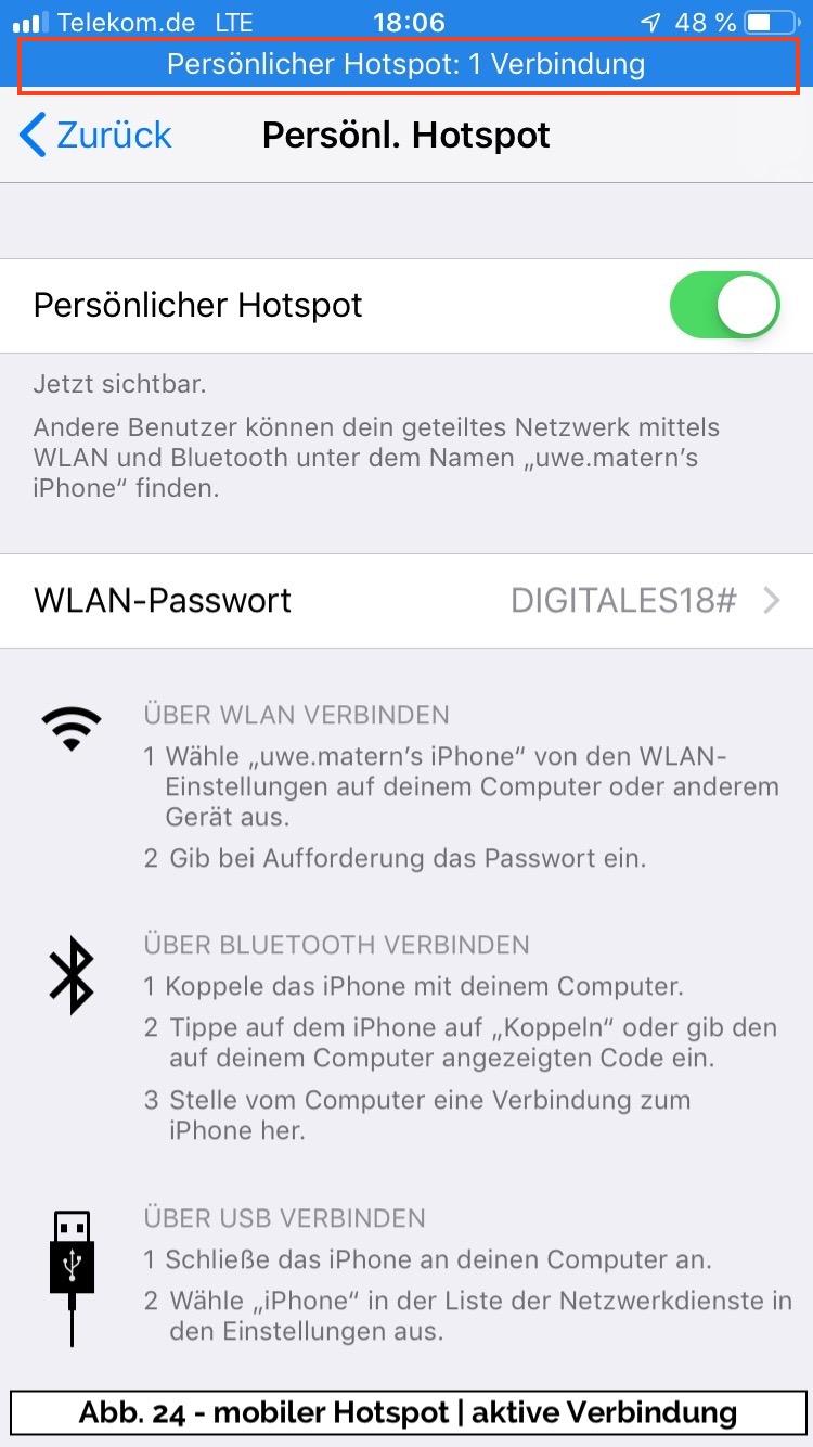 Abb 24 - iPhone Hotspot aktiv