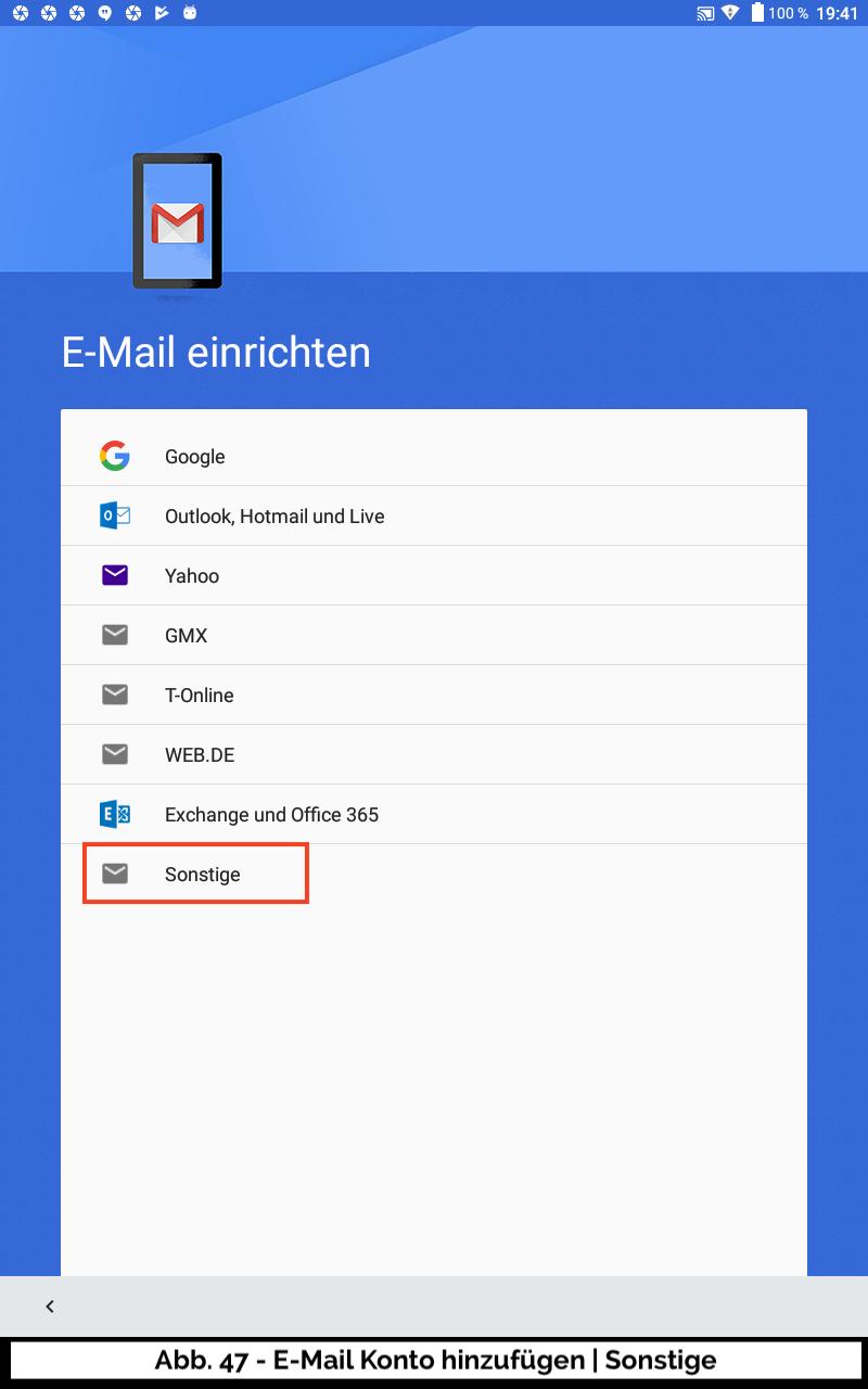 Abb 47 - E-Mail Konto neu Sonstige