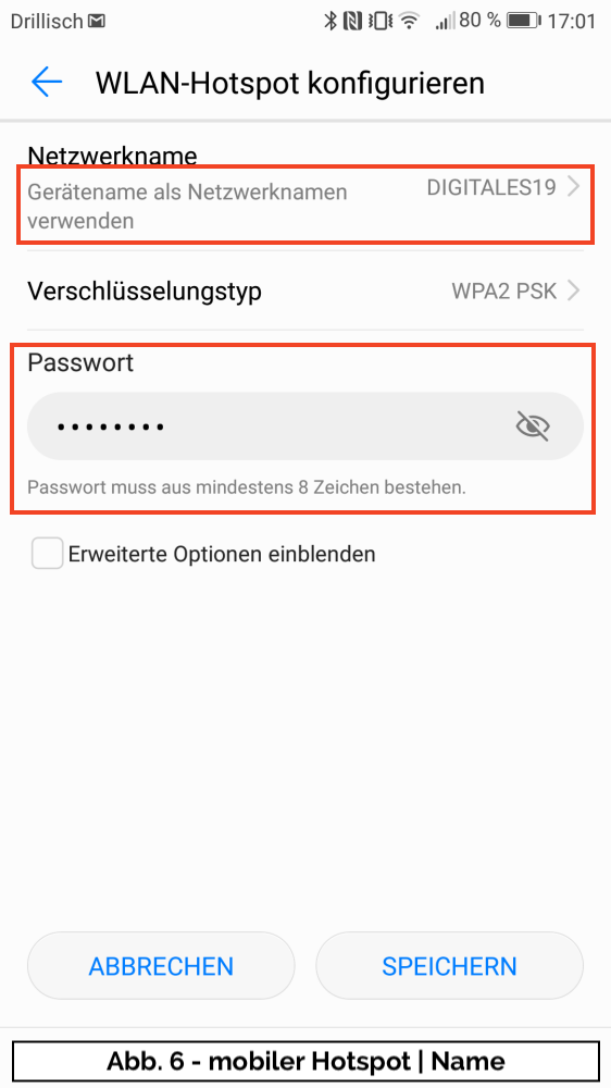 Abb 6 - mobiler Hotspot Name
