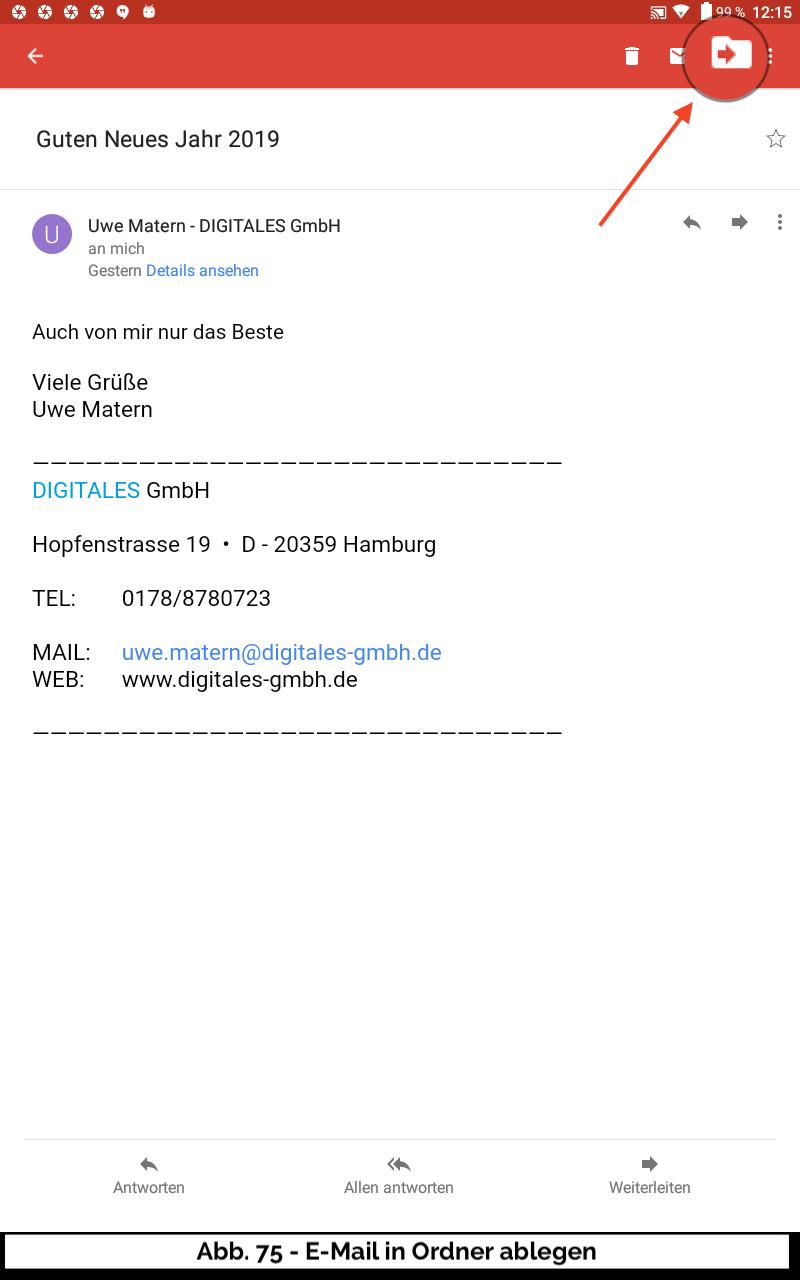 Abb 75 - E-Mail in Ordner ablegen Symbol