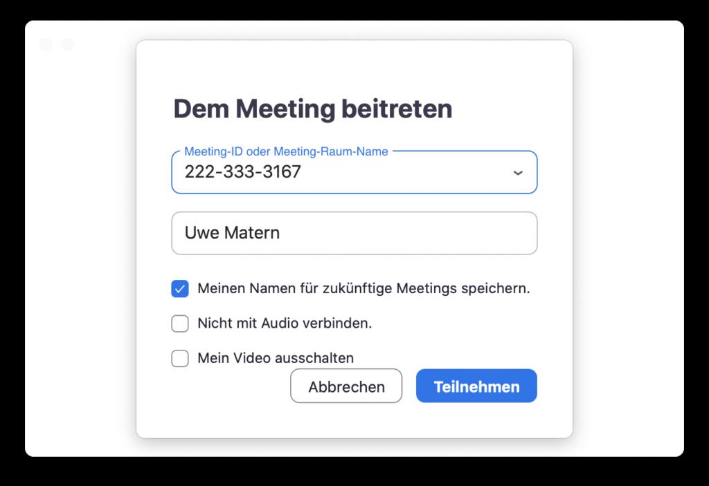 Meeting beitreten