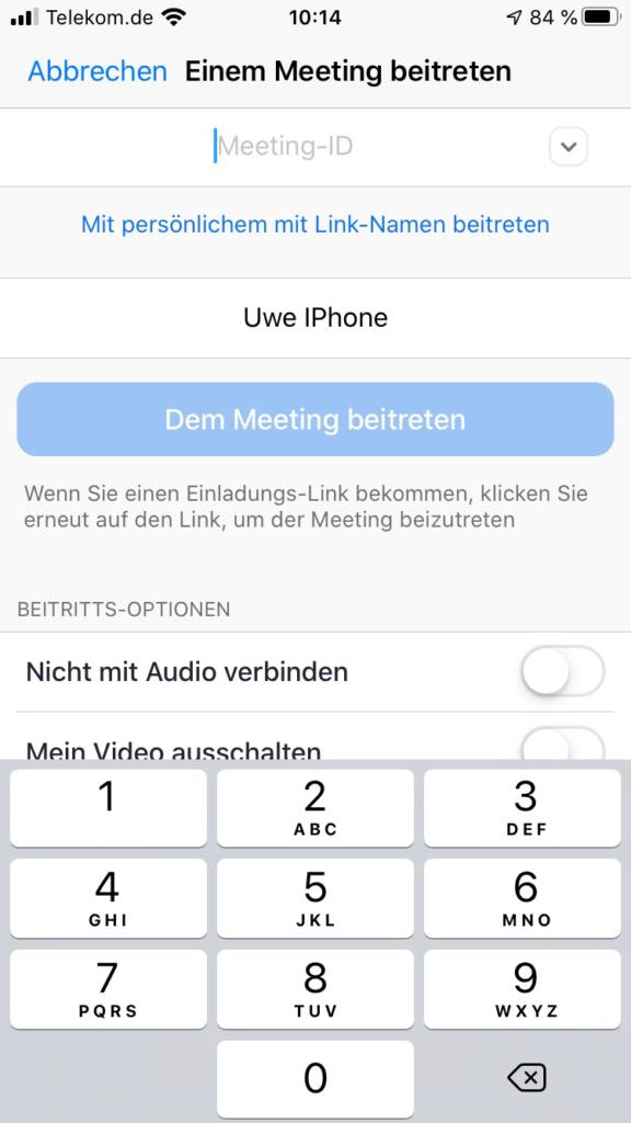 Zoom iPhone Meeting-ID
