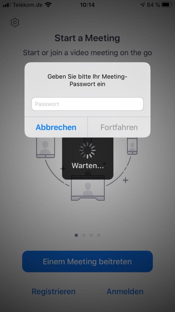Zoom iPhone Passwort
