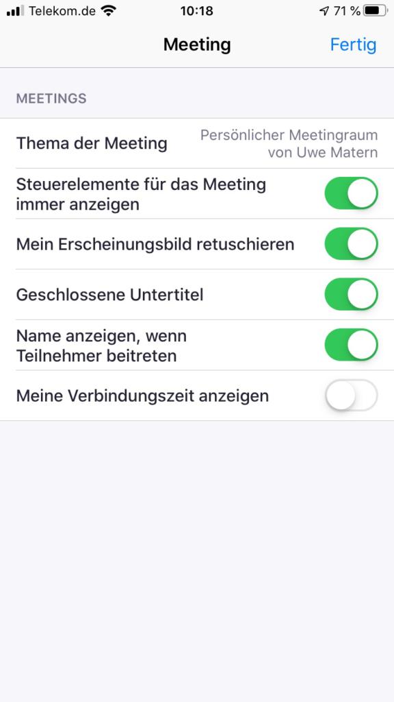 Zoom iPhon Einstellungen