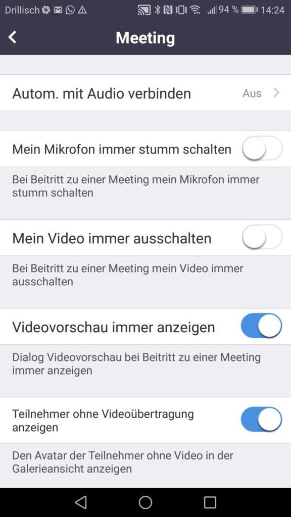 Zoom App Einstellungen