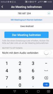 Zoom App Meeting teilnehmen